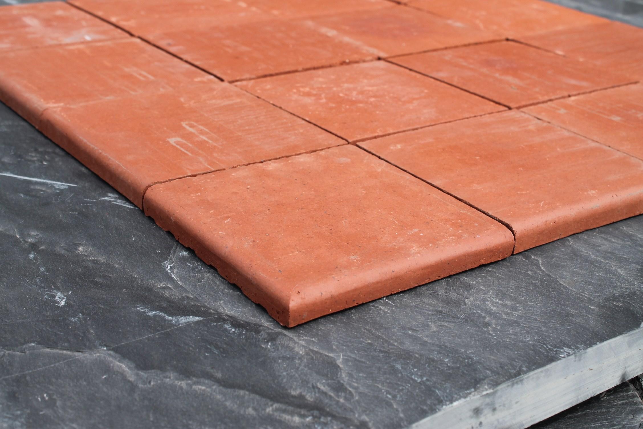 New Red Quarry Tiles Double Bullnose 6x6 Cawarden Reclaim